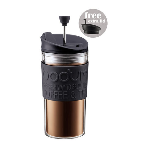 TRAVEL PRESS Coffee Maker with Extra Lid 0.35L/12oz