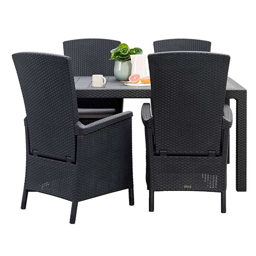 Kitchen Stools London Ontario: Melody Table + Vermont Chair Graphite (4pcs) Free Assembly