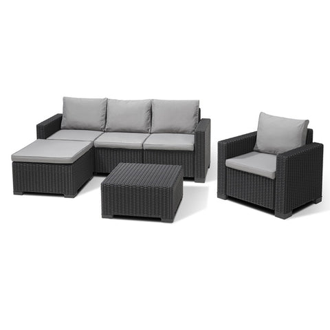 Moorea 5 Seat Garden Lounge Set Graphite (Free assembly + Delivery)