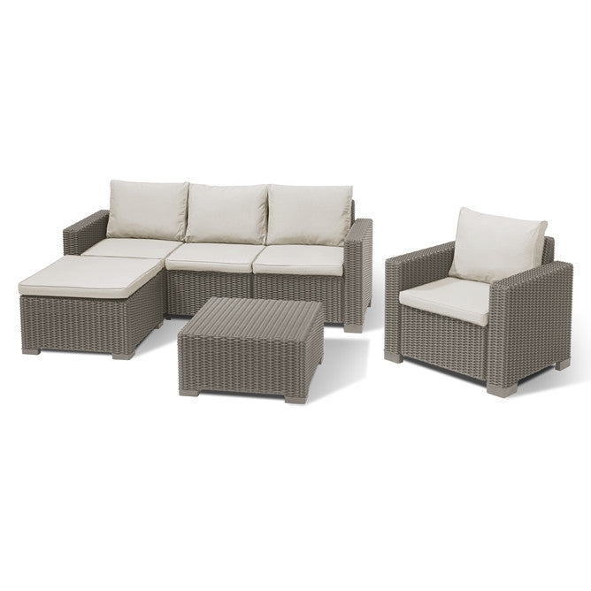 Moorea 5 Seat Garden Lounge Set Cappuccino (Free Delivery)