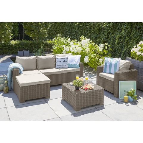 Moorea 5 Seat Garden Lounge Set Cappuccino (Free assembly + Delivery)