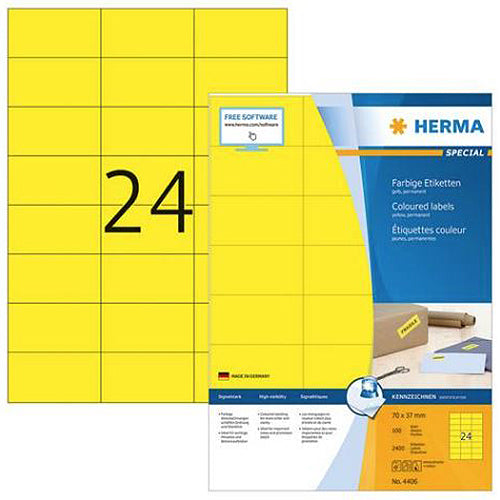 Coloured Labels A4, 70 x 37 mm, Yellow, Permanent Adhesion (4406)