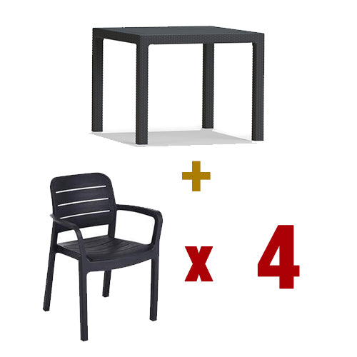 Keter Quartet Table + Tisara Chair (4pcs)