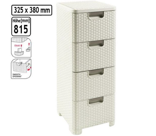 Rattan Style 4 Drawer