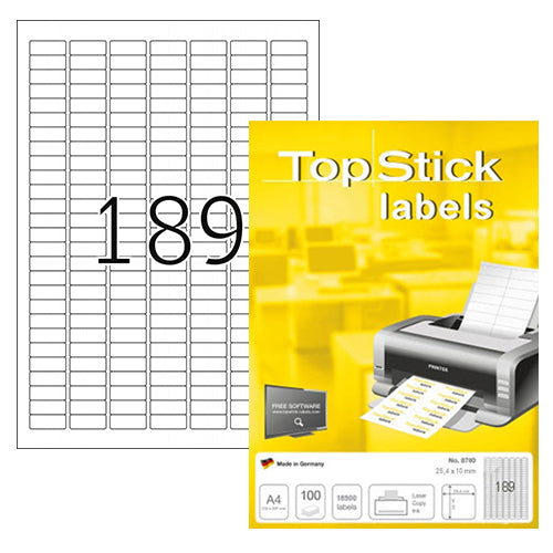 Top Stick Labels 25.4 x 10mm (8780)