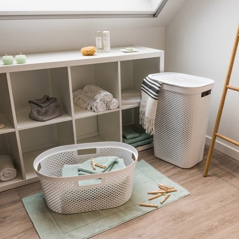 Infinity Laundry Hamper 60L Dots White