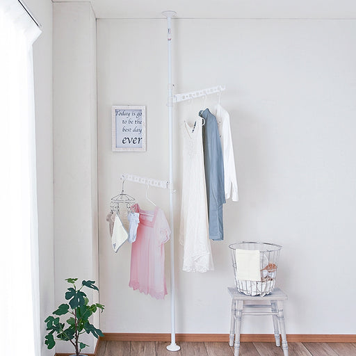 Laundry Standing Pole Rack White TMH-2