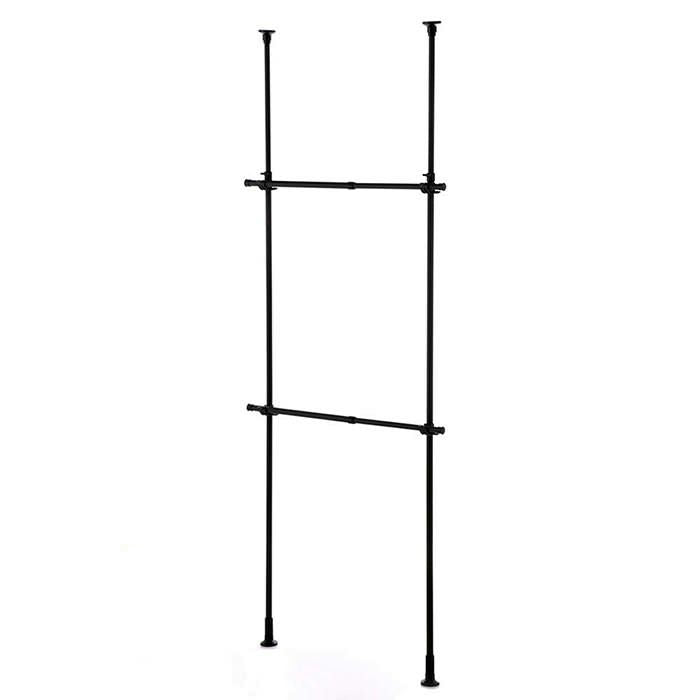 2 Tier Adjustable Clothes Hanger Rack Black TNP-3B
