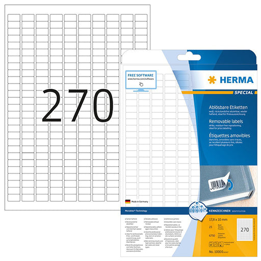 Removable Labels A4, 17,8 x 10 mm, White (10000)