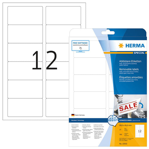 Removable Labels A4, 88,9 x 46,6 mm, White (10010)