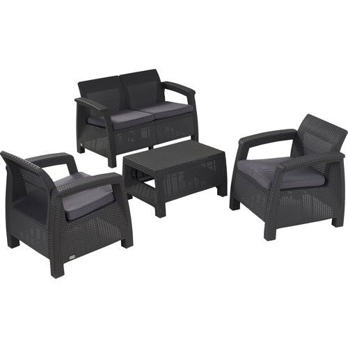 keter corfu set grey outdoor furniture set the home shoppe. Black Bedroom Furniture Sets. Home Design Ideas