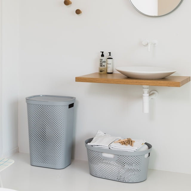 Infinity Laundry Hamper 60L Dots Grey