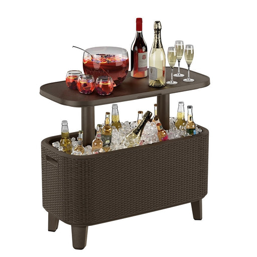 Bevy Bar Cooler Box and Side Table Brown