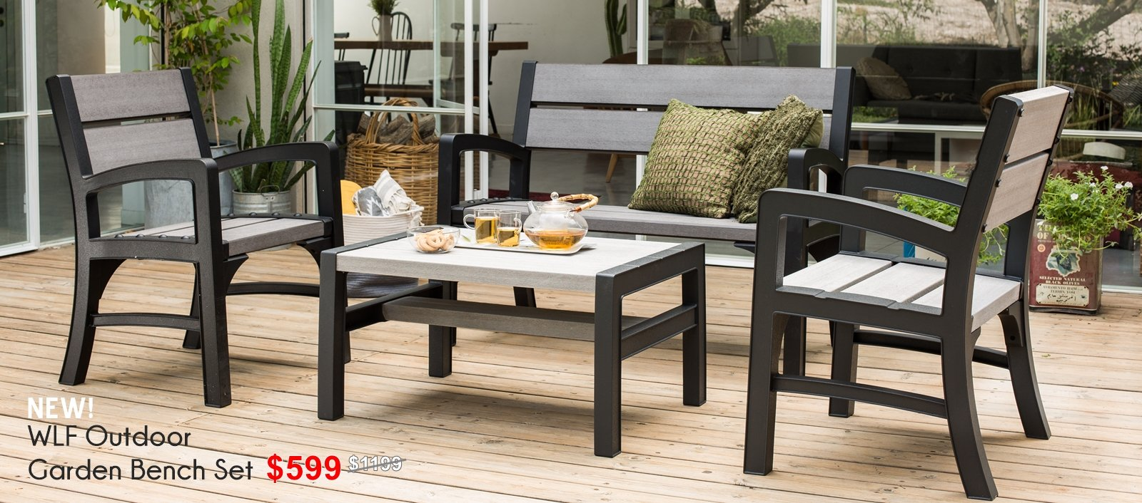 Keter wood plastic outdoor bench seat chair dining set waterproof outdoor sofa furniture set the home shoppe keter sg