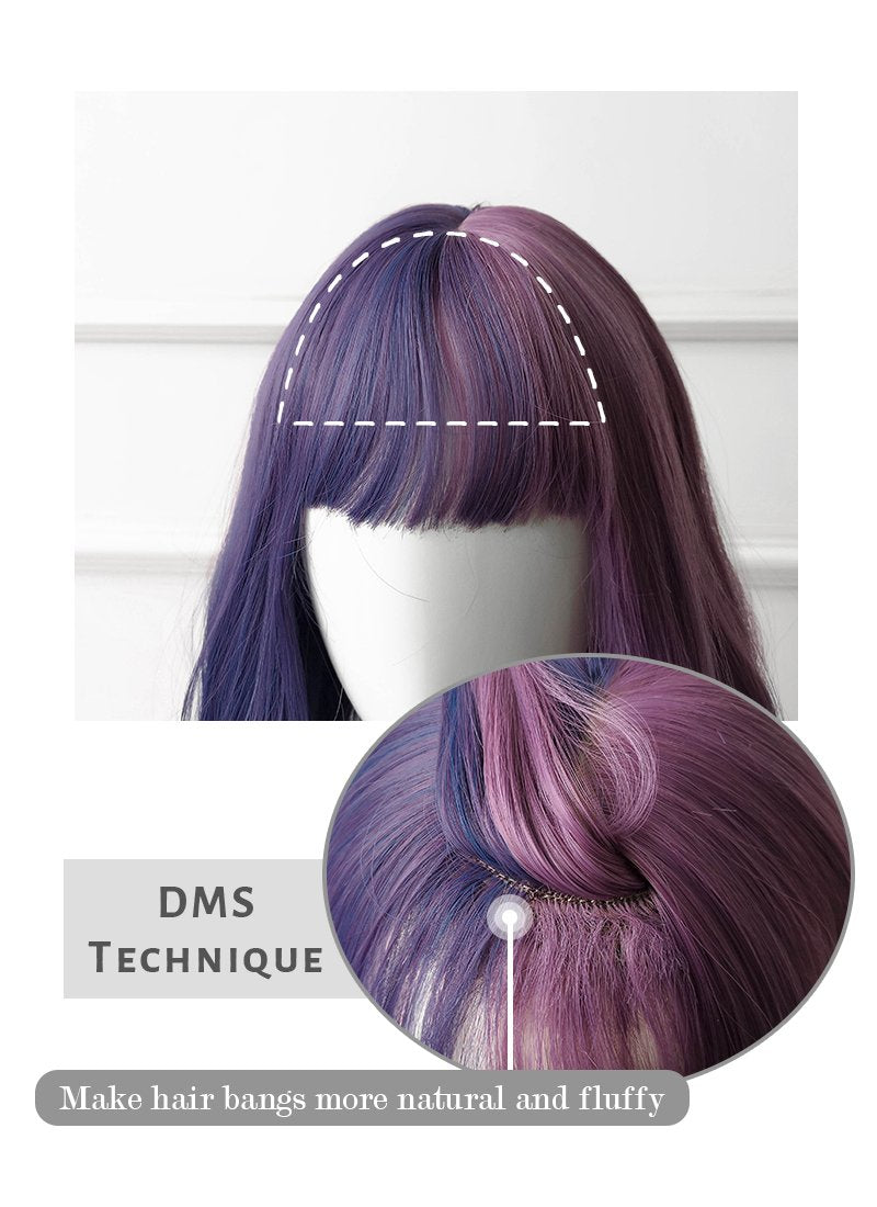 Two Tone Purple Wavy Synthetic Wig NS202