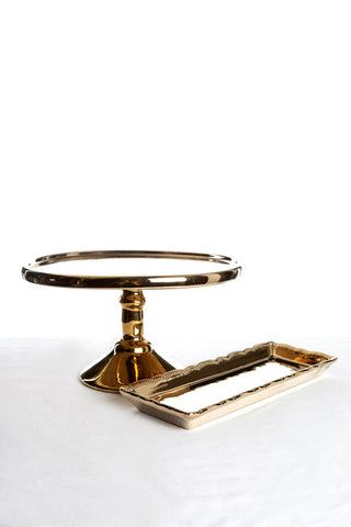 Gold Porcelain Cake Stand & Sandwich Tray