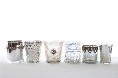 Assorted Silver Mercury Glass Votives