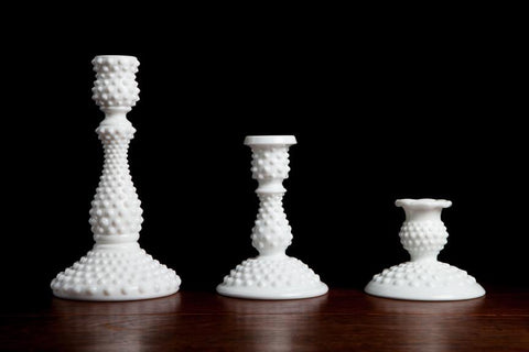 Candlesticks: Milk Glass Candlesticks