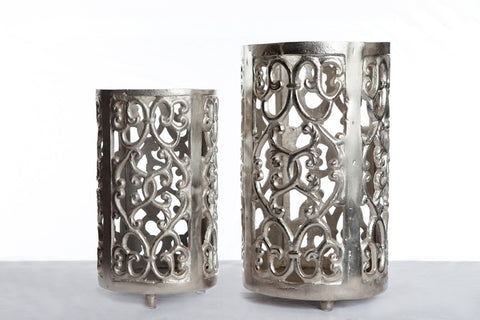 Silver Metal Candle Holders