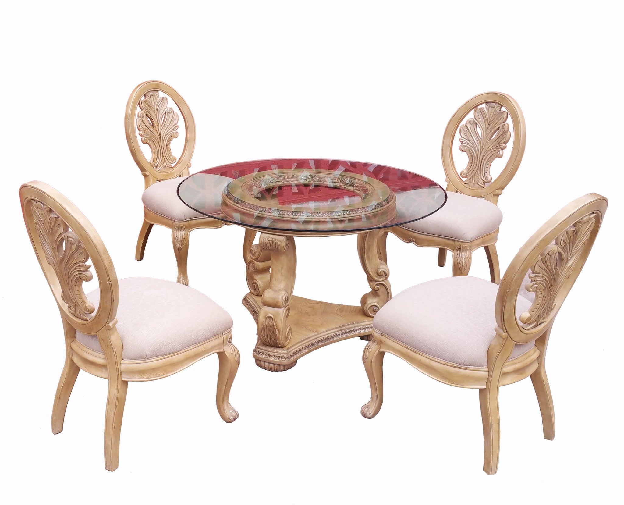 Schnadig Empire Round Pedestal Dining Table W Glass Top And 4 Chairs