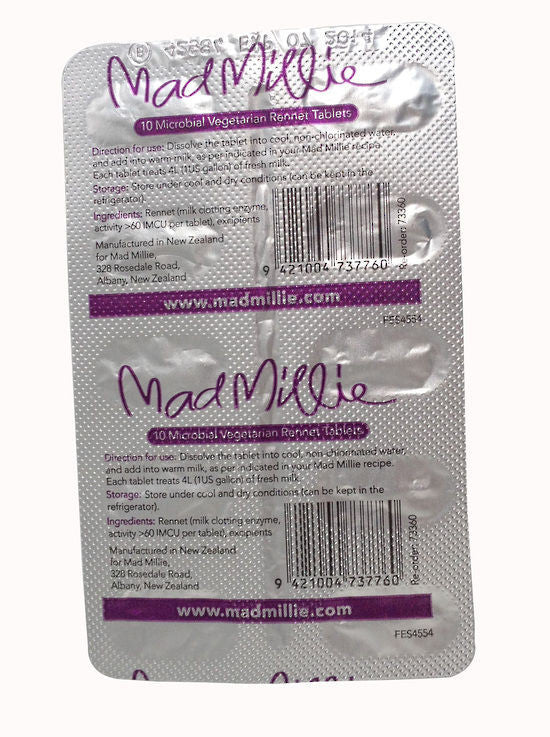 Vegetarian Rennet Tablets by Mad Millie - 10pc Blister Pack for Cheese Making