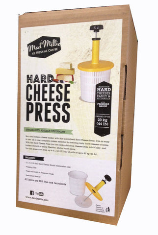 Cheese Press with 2 Litre Hard Cheese Mould and Pressure Gauge by Mad Millie
