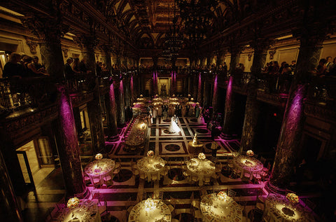 A bird's-eye view of the reception banquet hall