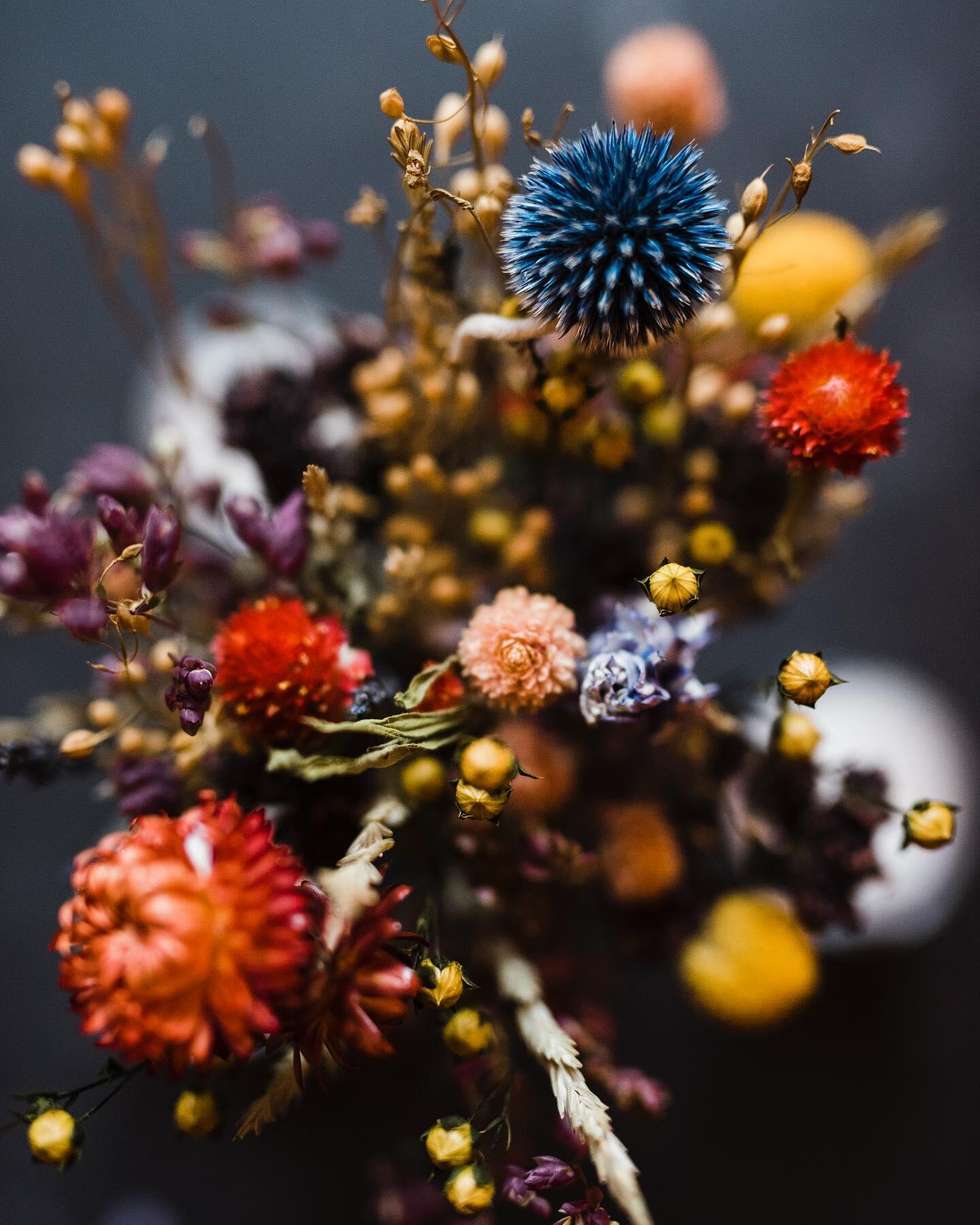 the Rave a customer celebration with fall dried flower arrangement with thistle