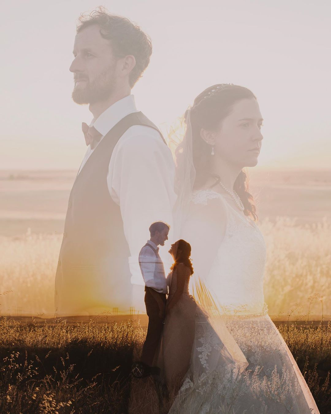 Double exposure photograph of a bride and groom posing in a field during the golden hour