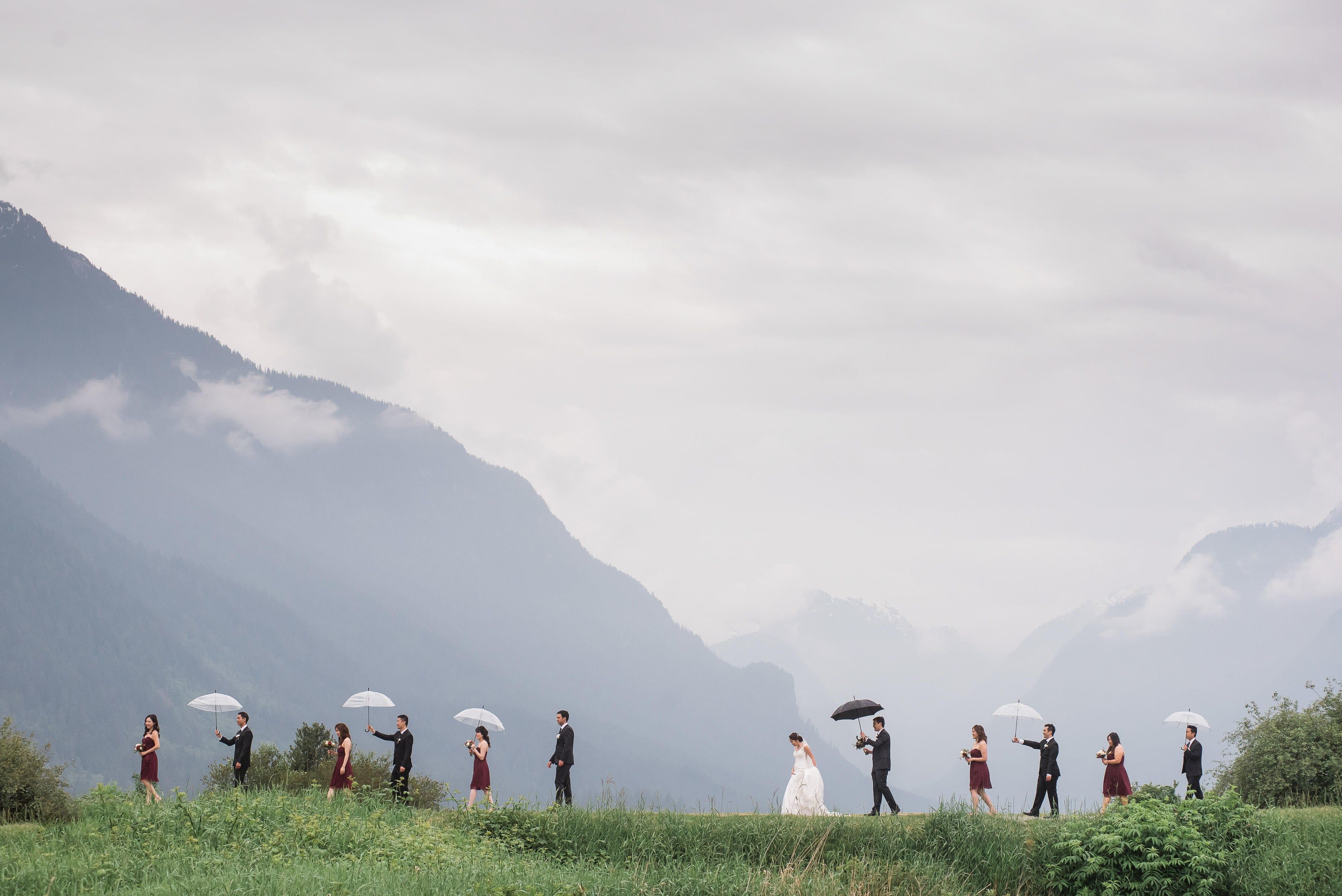 Bride & groom posing with bridesmaid & groomsmen with umbrellas in hand in front of a hillside landscape
