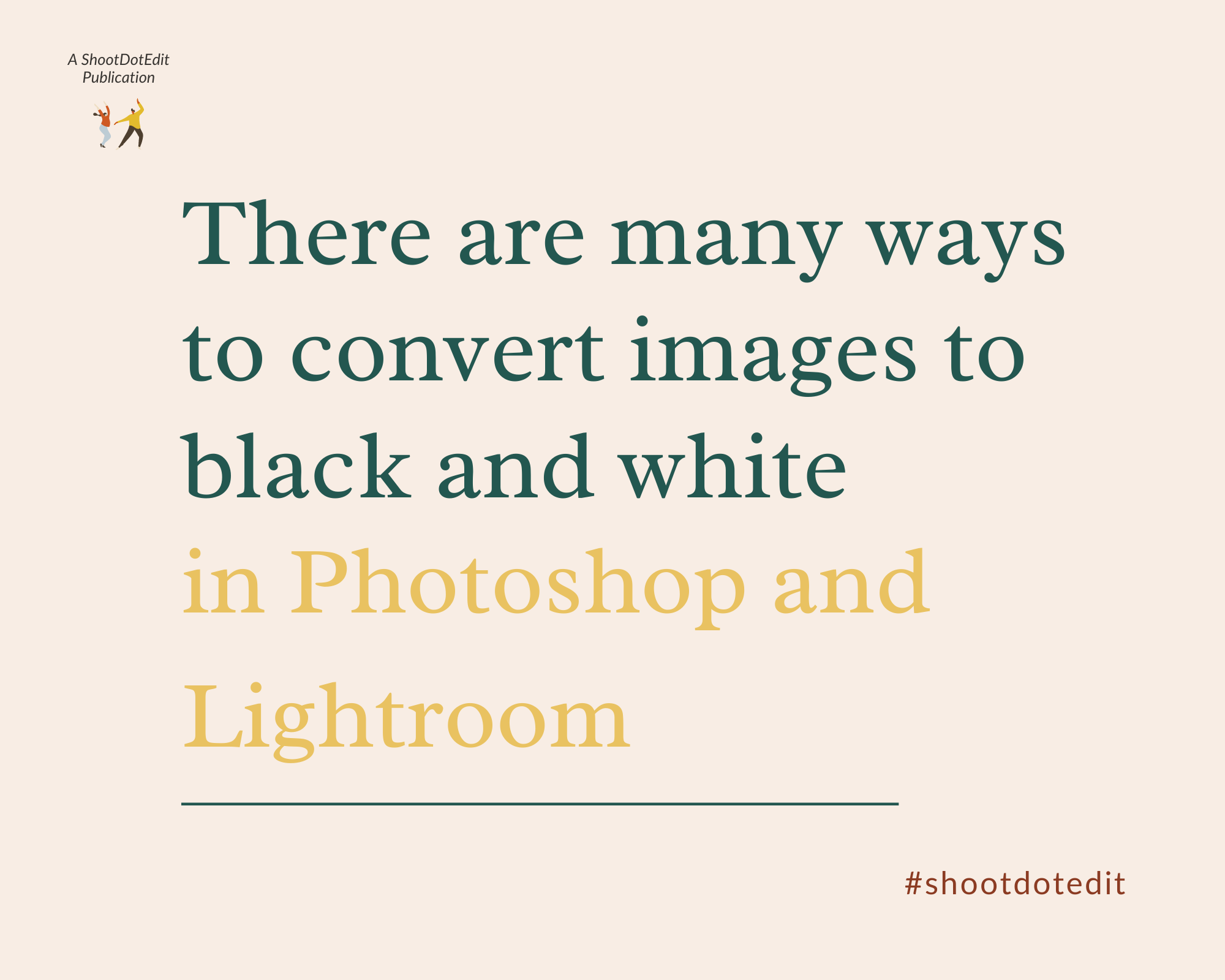 Infographic stating there are many ways to convert images to b&w in Photoshop and Lightroom
