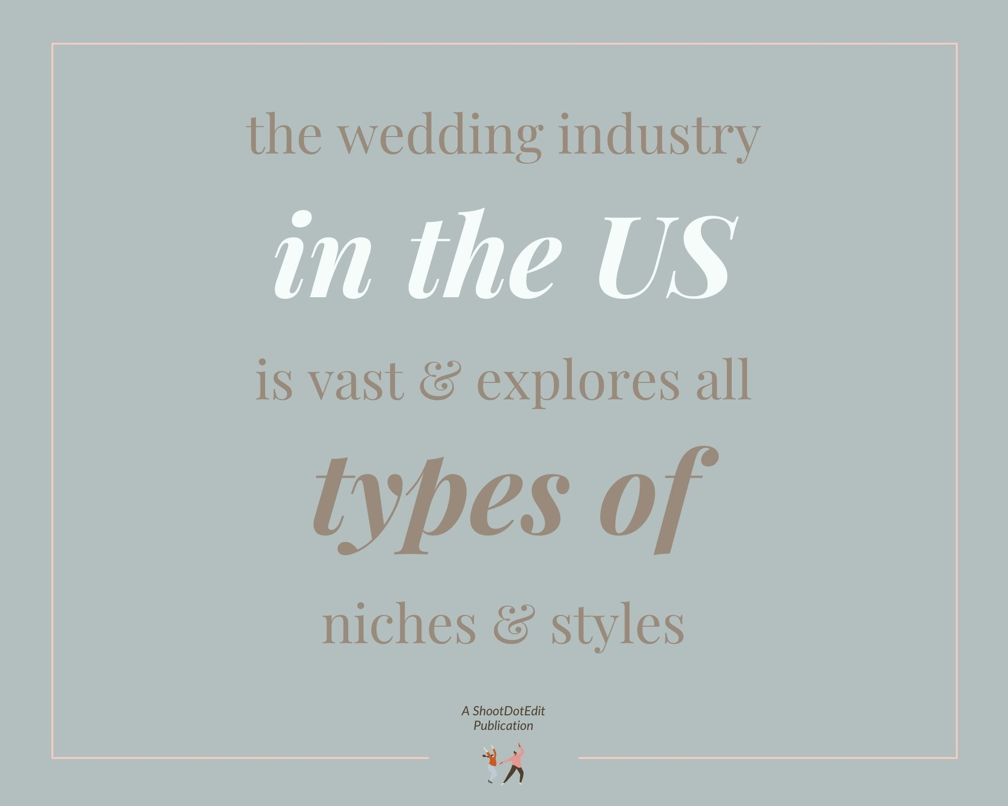Infographic stating the wedding industry in the US is vast & explores all types of niches & styles