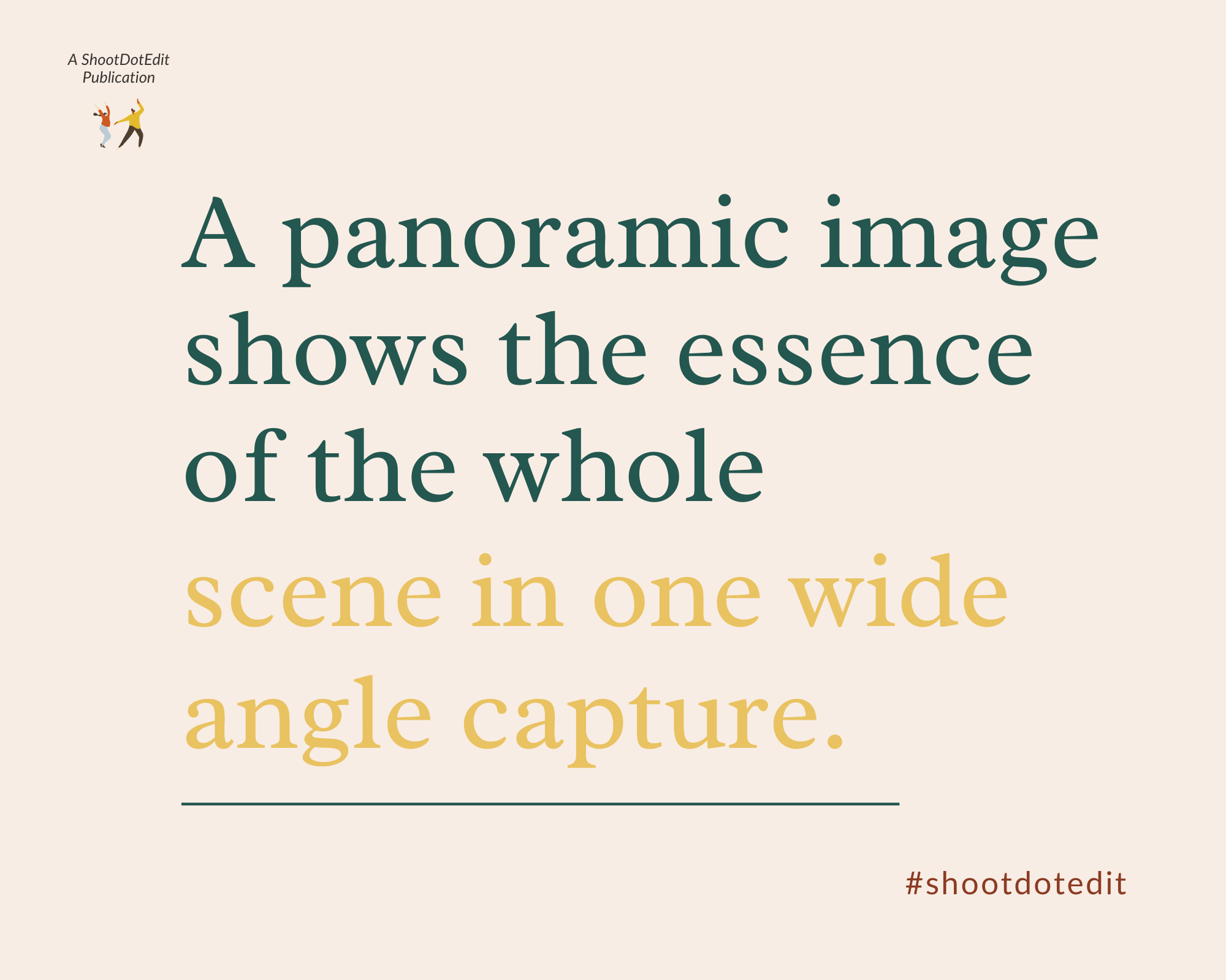 Infographic stating a panoramic image shows the essence of the whole scene in one wide angle capture
