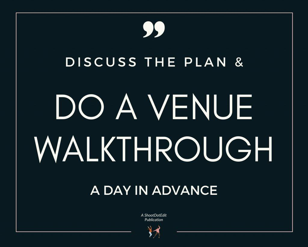 Infographic stating discuss the plan and do a venue walkthrough a day in advance