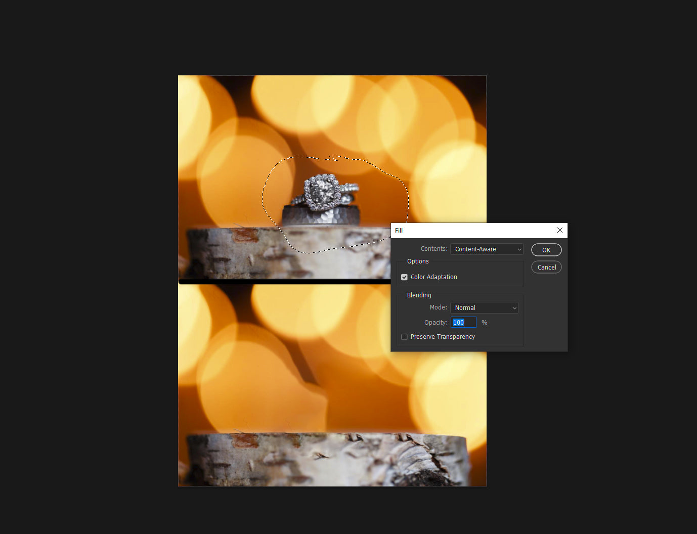 Removing objects from an image in Photoshop
