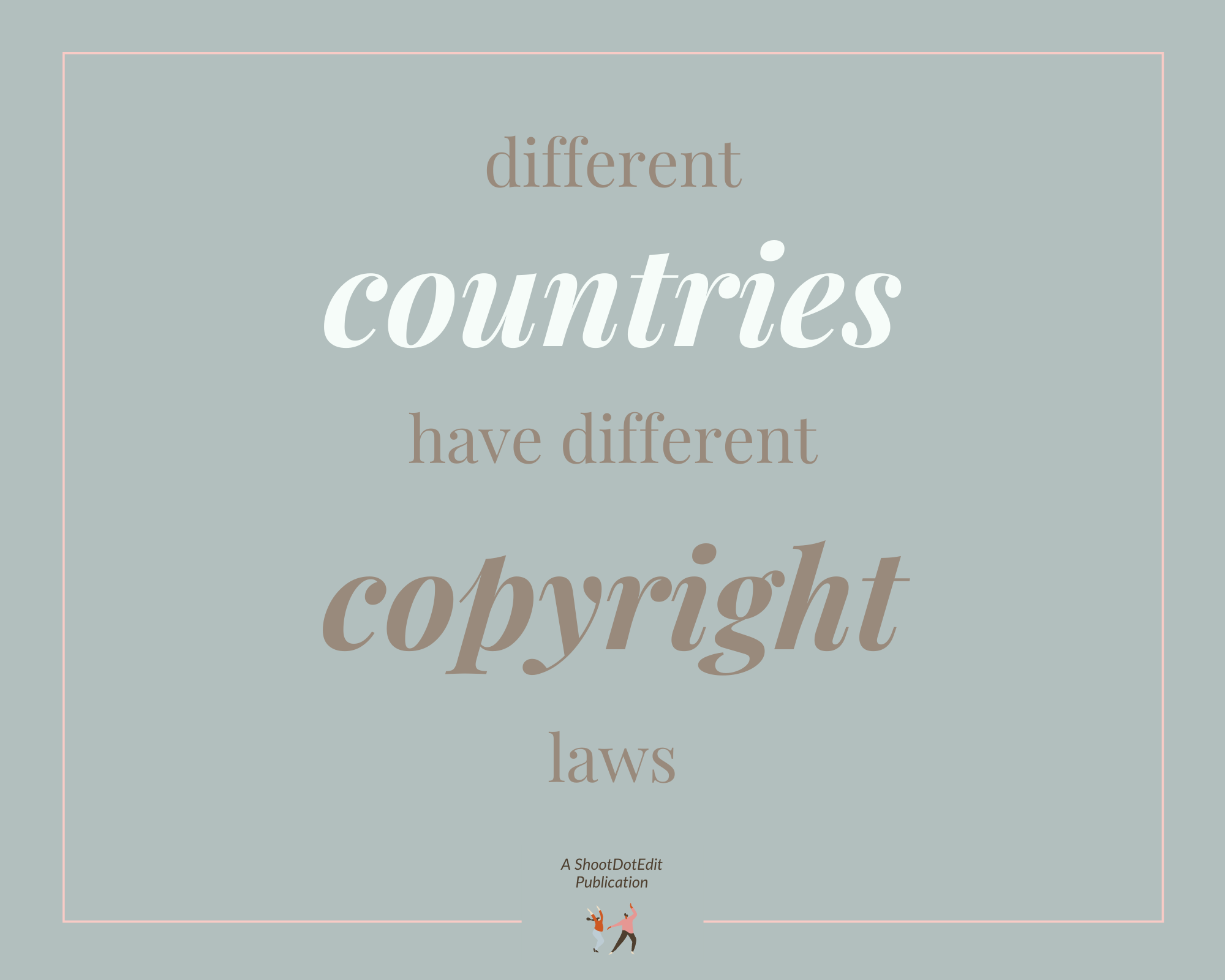 Infographic stating different countries have different photography copyright laws