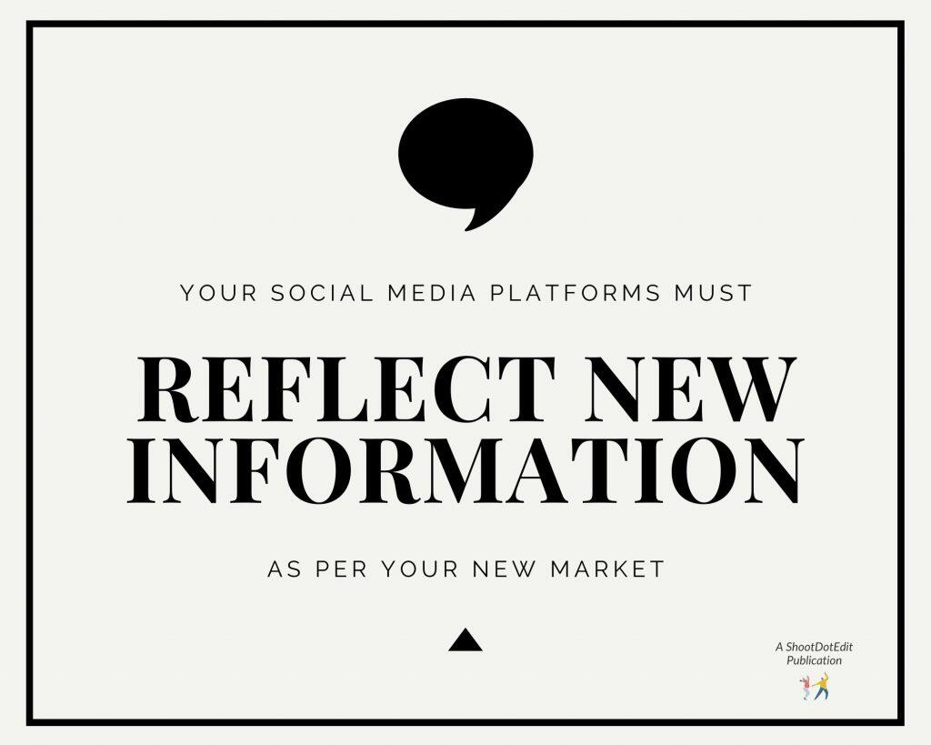 Infographic stating your social media platforms must reflect new information as per your new market