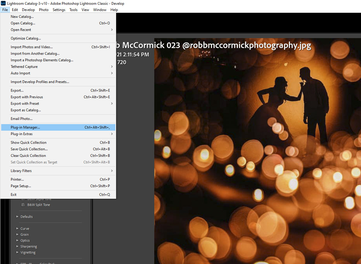 Selecting plug in manager in Lightroom