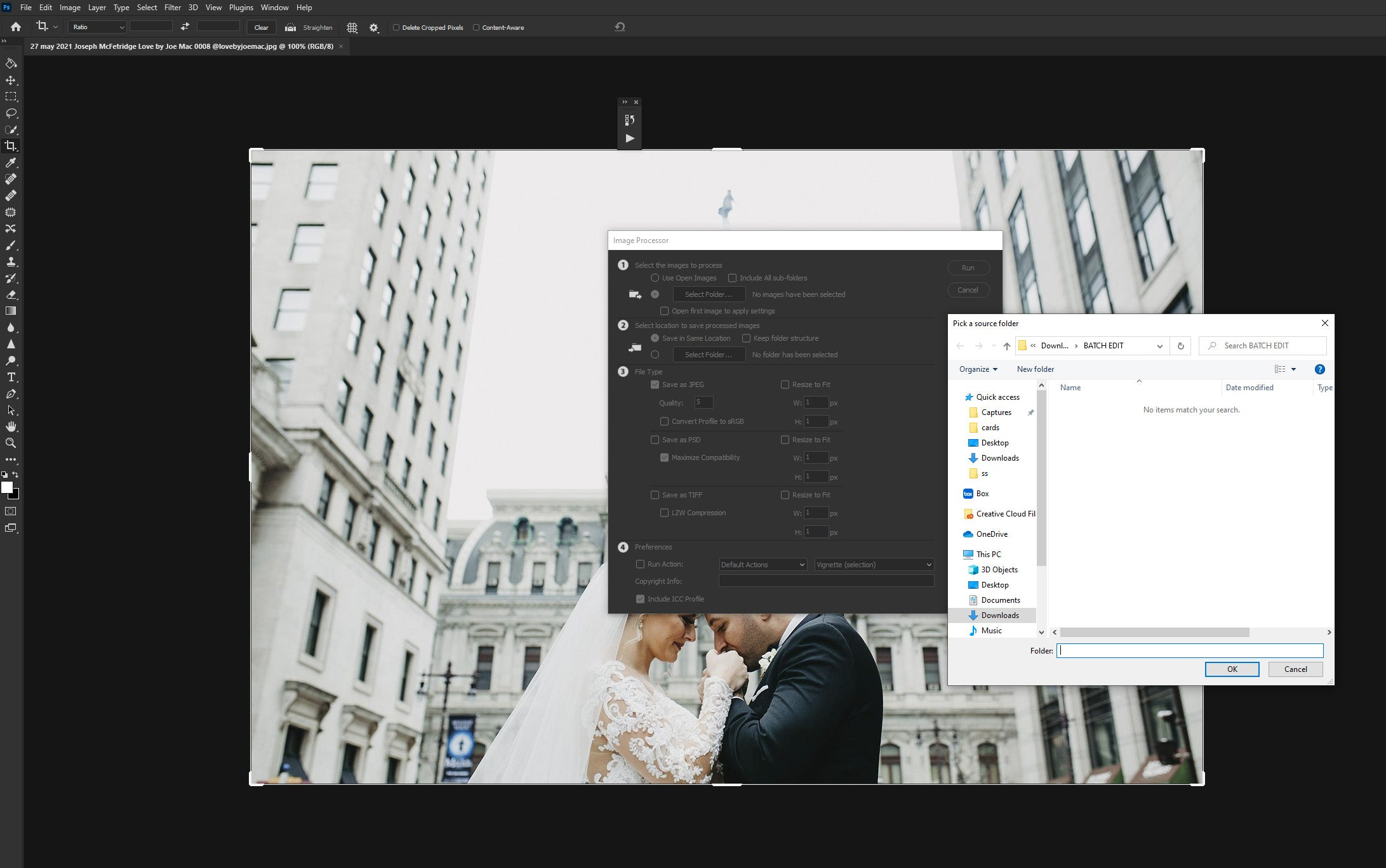 Running an action in Photoshop