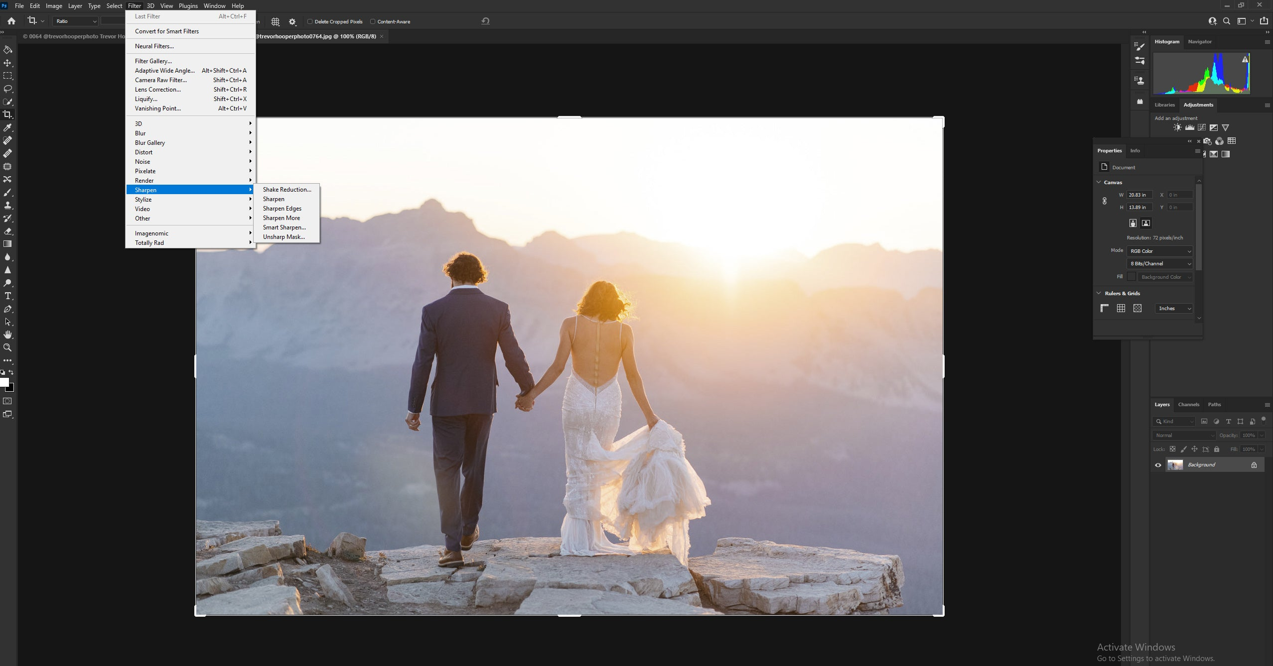 Using the sharpening tools in Photoshop to eliminate any noise