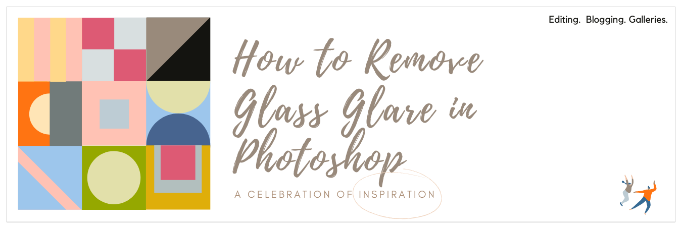 Infographic displaying - how to remove glass glare from photos in Photoshop