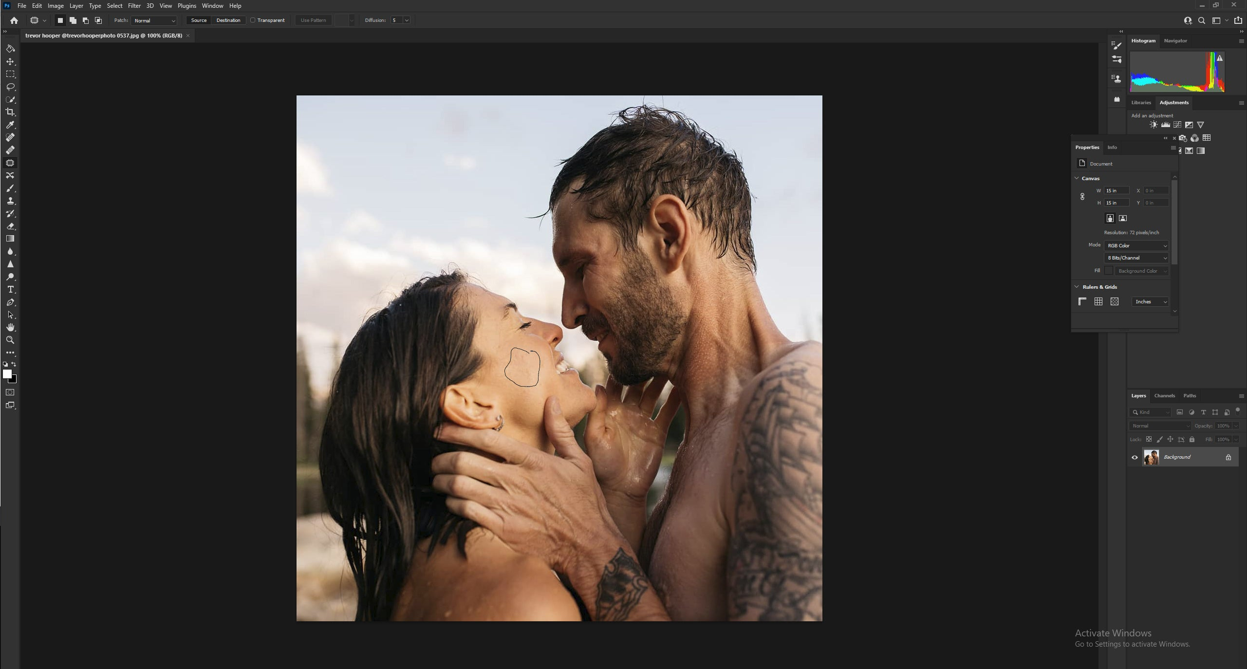 Editing the subject's skin in Photoshop