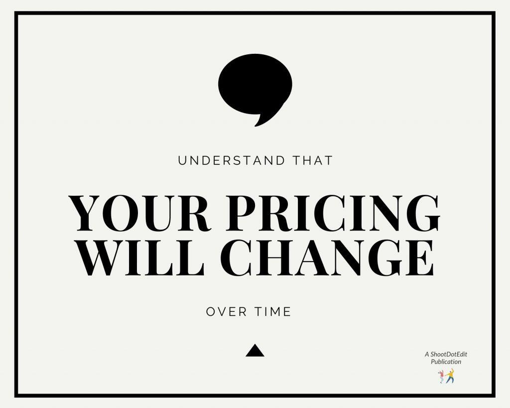 Infographic stating understand that your pricing will change over time