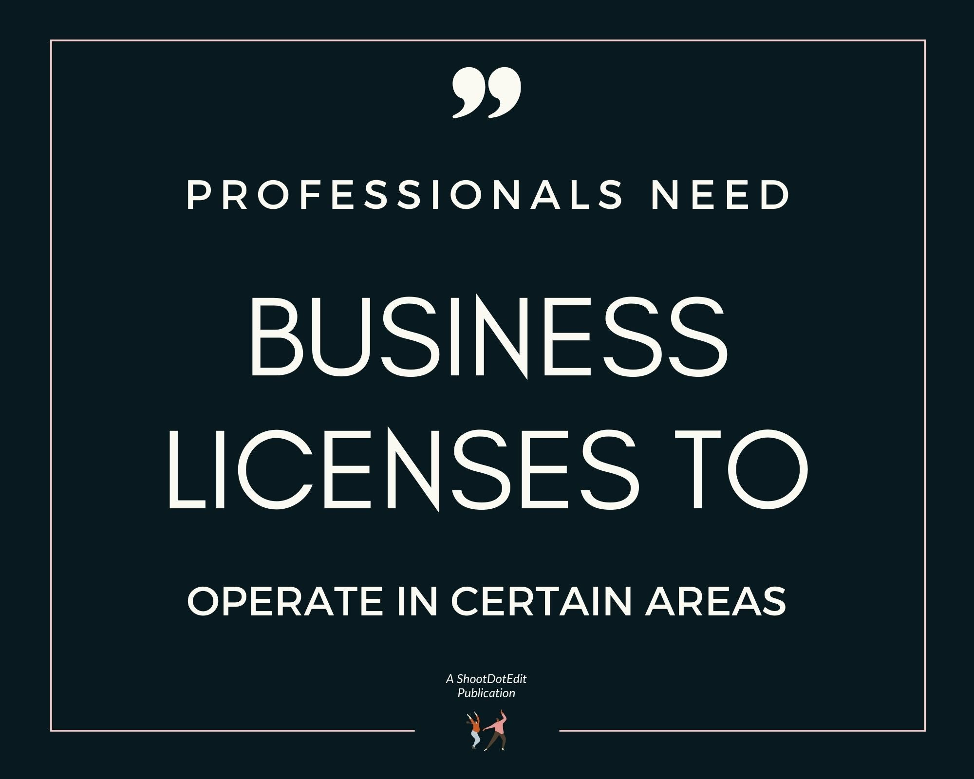 Infographic stating professionals need business licenses to operate in certain areas