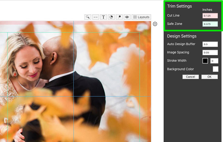 A tutorial image of how to trim an image in Fundy Designer.
