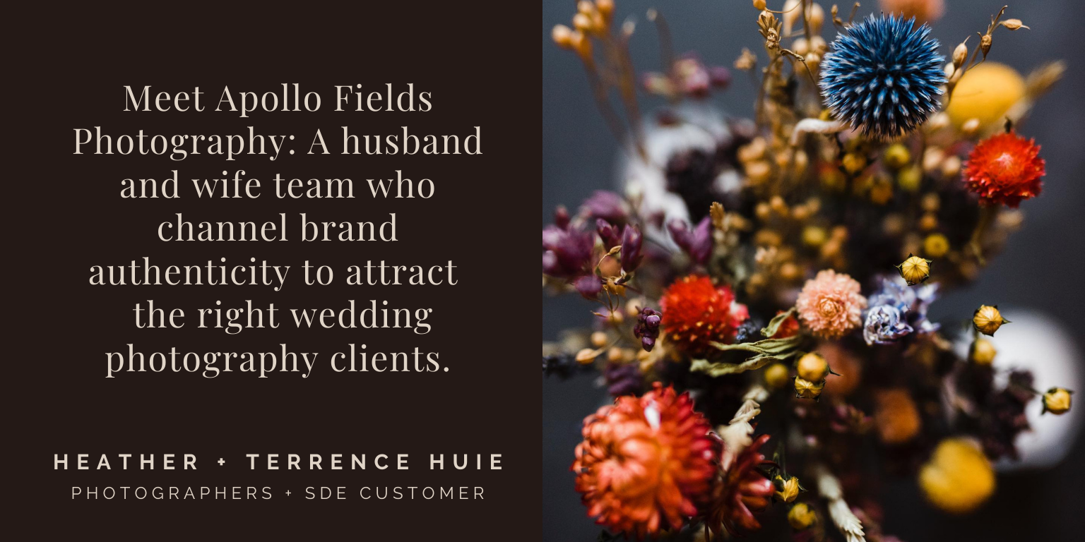 Meet Apollo Fields Photography a husband and wife team who channel brand authenticity to attract  the right wedding photography clients.