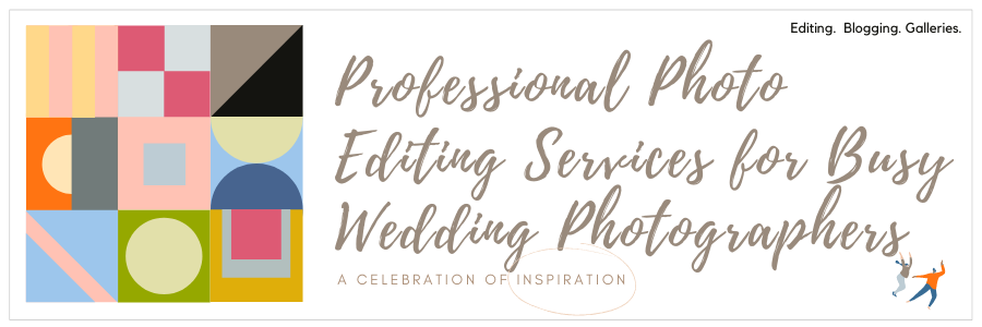 Infographic stating professional photo editing services for busy wedding photographers