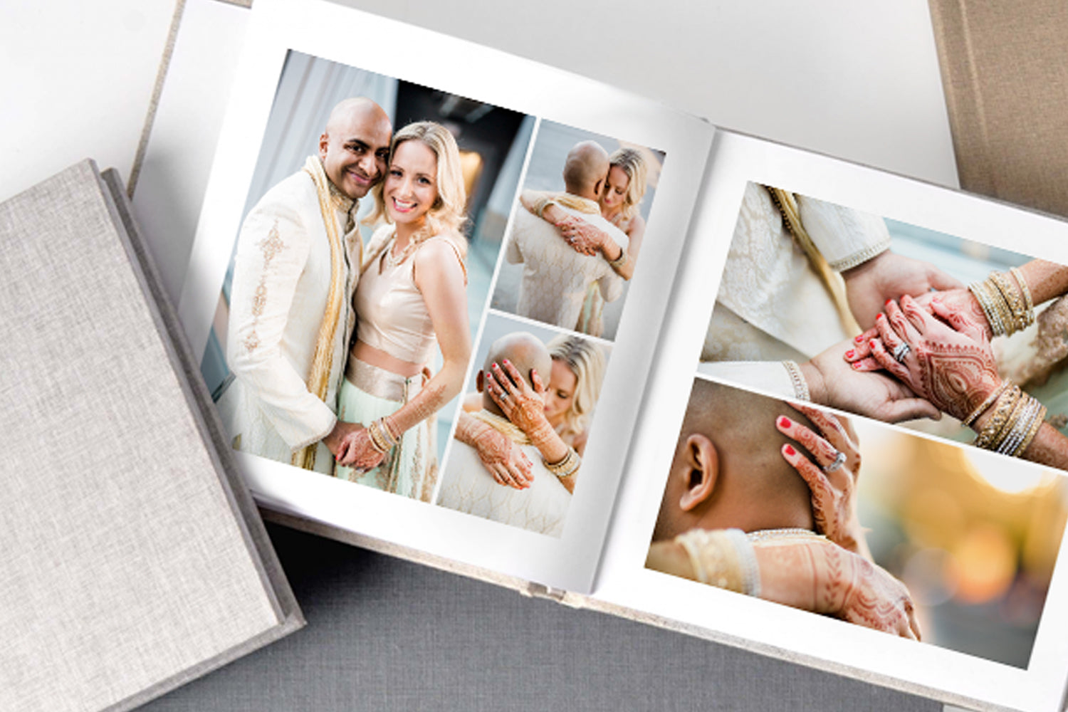 Fundy Designer photo album of a couple placed on a desk