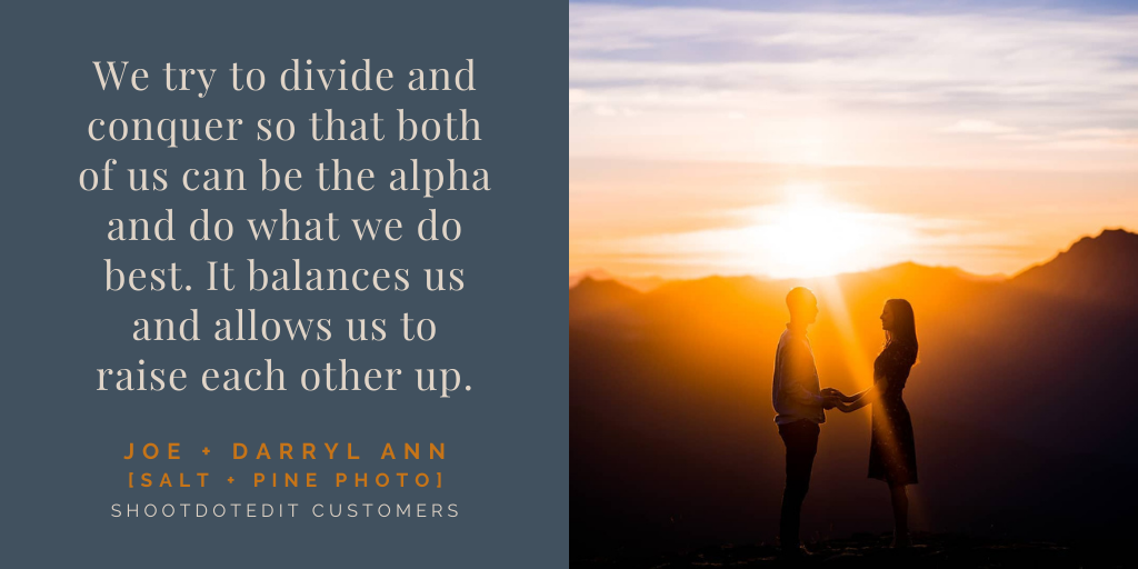 Infographic displaying a quote from Joe and Darryl Ann (a husband and wife team) on the left and a sunset silhouette at the right
