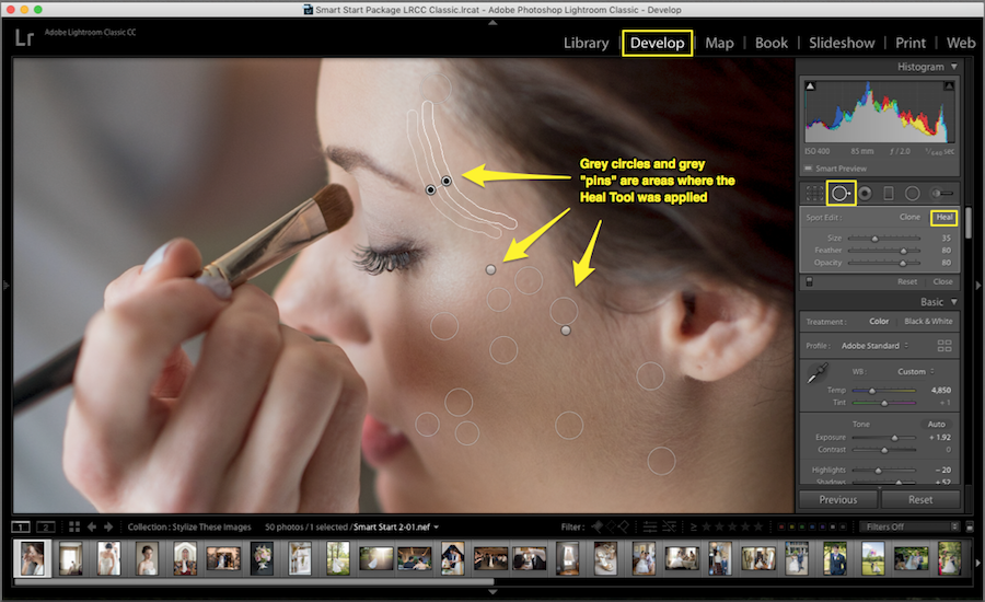 how to correct minor imperfections lightroom